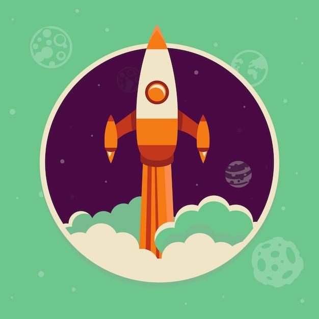フラットスタイルのロケットイラストスタートアップのコンセプト Premiumベクター