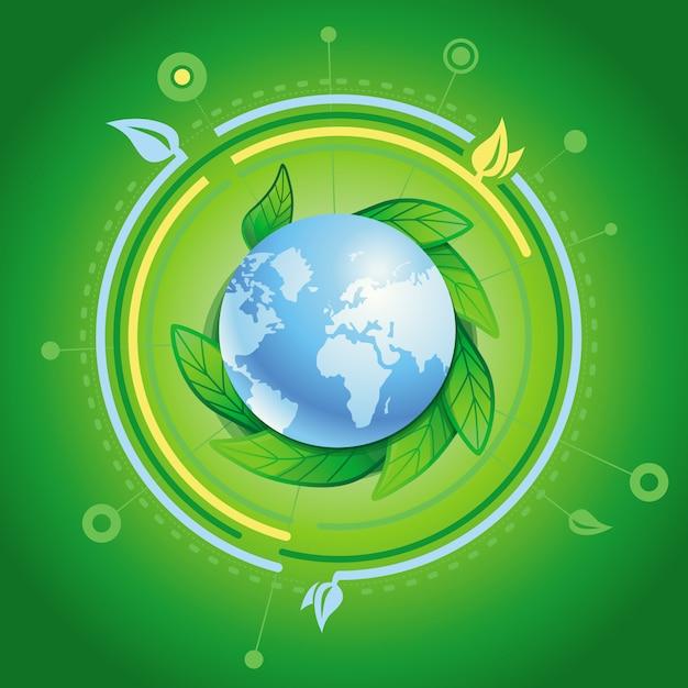 Планета с зелеными листьями Premium векторы