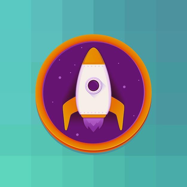ロケットベクトルフラットスタイルの概念を起動します。 Premiumベクター