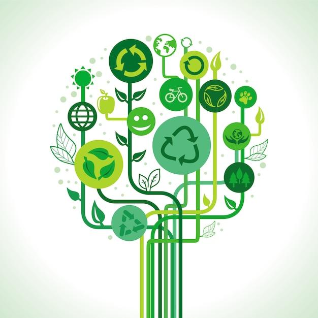 ベクトルエコロジーコンセプト - リサイクルサインとシンボルの抽象的な緑の木 Premiumベクター