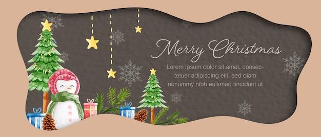Веселая рождественская открытка шаблон Premium векторы