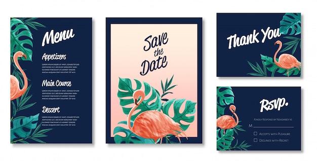 水彩の結婚式カードテンプレートの美しいセット。フラミンゴと野生の葉のテーマ。 Premiumベクター
