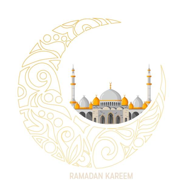 Рамадан карим вектор макет поздравительной открытки с мечетью, минареты, арабские сверкающие лампы и декоративный декор. Premium векторы