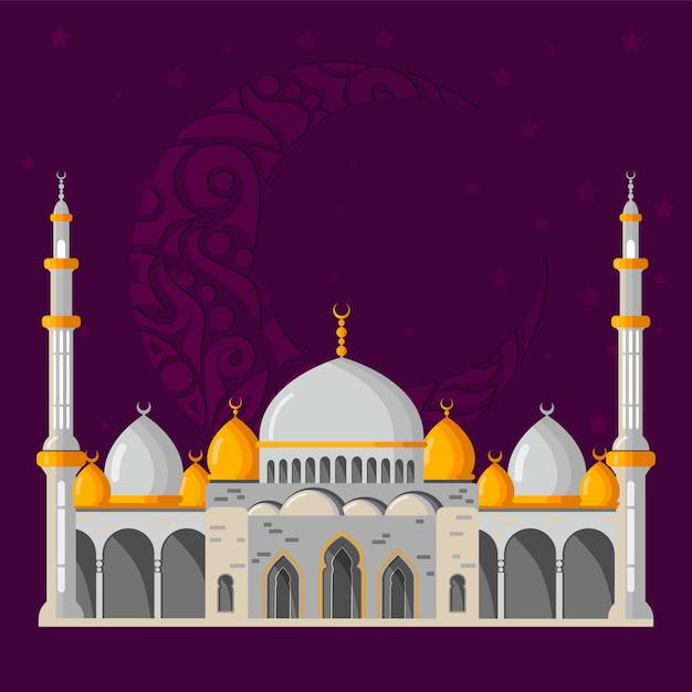 ラマダンカリームベクトルグリーティングカードレイアウト、モスク、ミナレット、アラビア風の輝くランプ、および装飾的な装飾。 Premiumベクター