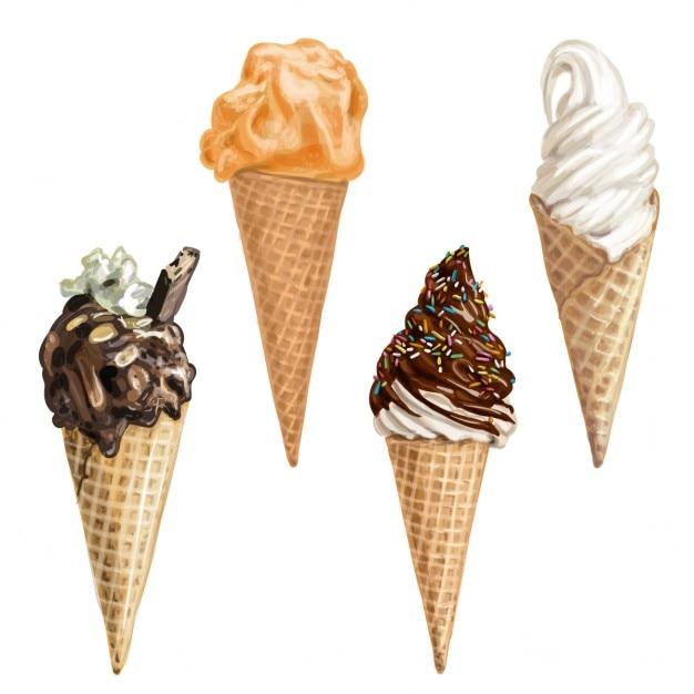 甘い夏の手描きアイスクリーム 無料ベクター