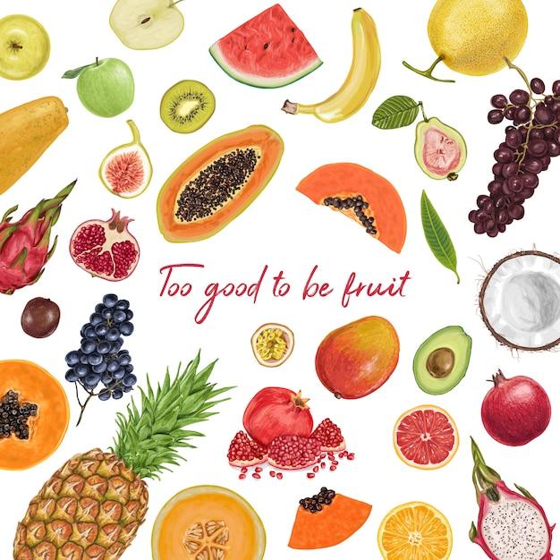 Свежие сочные фрукты тропической коллекции Premium векторы