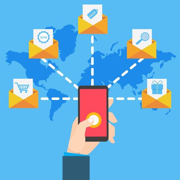 Почтовый маркетинг с рукой, держащей смартфон Premium векторы
