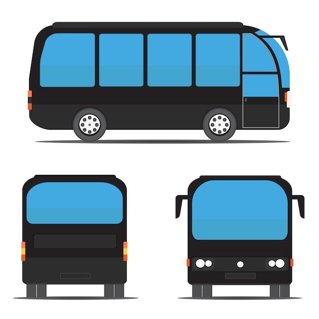 Виды черного автобуса Premium векторы