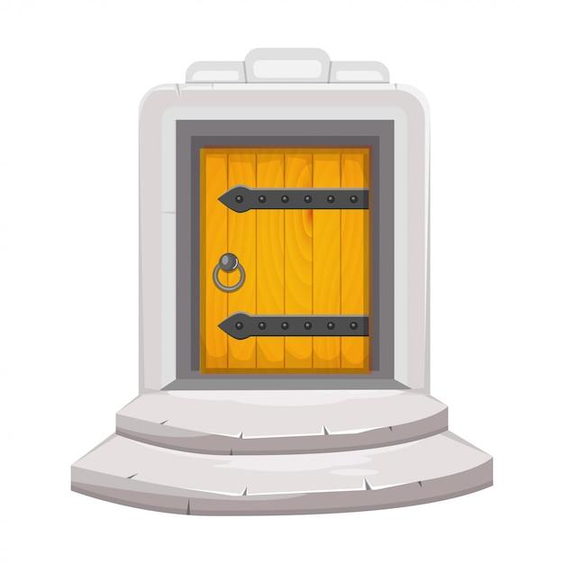 Средневековая деревянная дверь Premium векторы