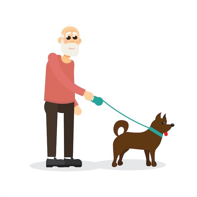 Седой, бородатый пожилой джентльмен, старик гуляет с собакой. персонаж. Premium векторы