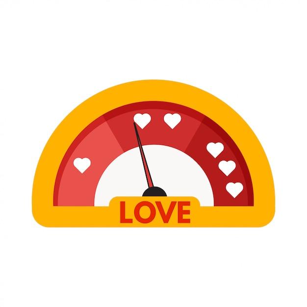 Значок метра или датчика любви Premium векторы