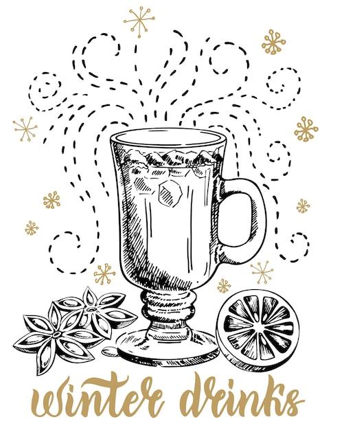 冬の温かい飲み物。季節の休日飲料イラスト Premiumベクター
