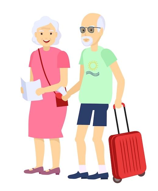 牽引で荷物と一緒に旅行する老夫婦のイラスト Premiumベクター