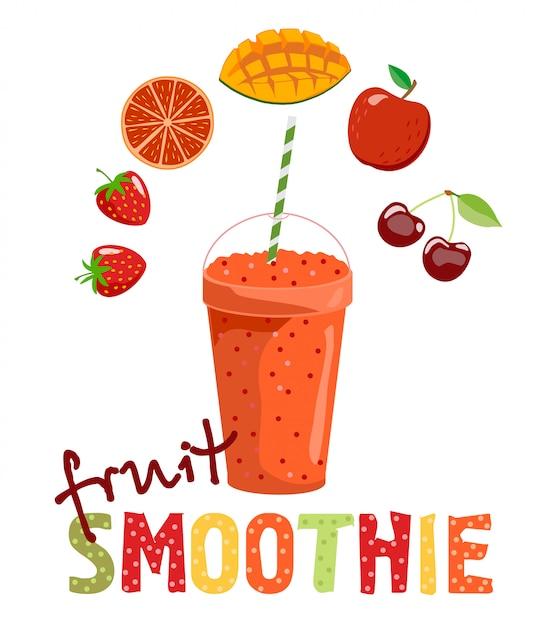 果物のスムージー。デトックスカクテル。健康的な生活様式。図。メニュー、カフェ、レストラン、バーに使用できます。それが作られているスムージーと果物。 Premiumベクター