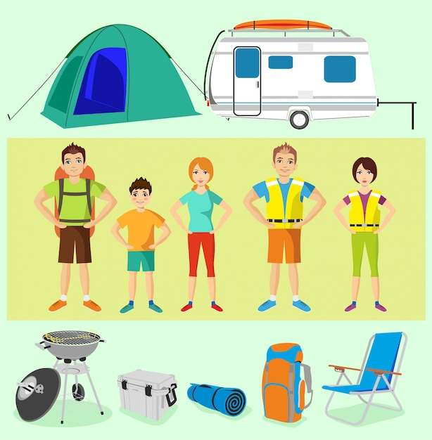 キャンプ用品キャンプ用品のベクトルを設定します。観光客のキャラクター Premiumベクター