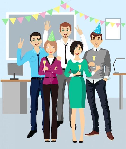 Корпоратив бизнес команда празднует. корпоративная дискотека. Premium векторы