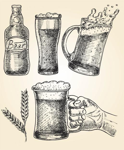 ビールセット。メガネとマグカップ、ホップ、麦芽、ボトルのベクトルイラスト。オクトーバーフェスト Premiumベクター