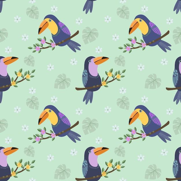 Тукан птица на ветке картины. Premium векторы