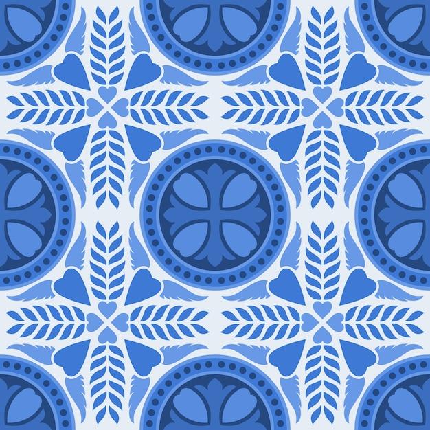 Синий и белый дамасской цветочные бесшовный фон фон. Premium векторы
