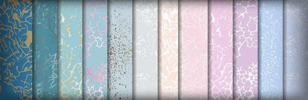Абстрактный мраморный набор красивых бесшовных узоров Premium векторы
