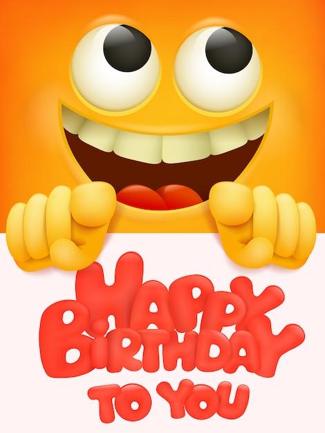 絵文字であなたにお誕生日おめでとうカード Premiumベクター