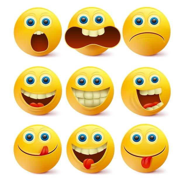 Желтые улыбающиеся лица. шаблон персонажей эмодзи Premium векторы