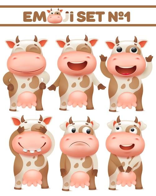 茶色の斑点を付けられた牛セット、様々なポーズで農場の動物のキャラクターベクトルイラスト Premiumベクター