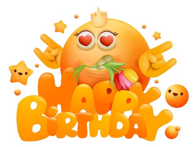 黄色の絵文字の漫画のキャラクターと花のお誕生日おめでとうグリーティングカード Premiumベクター