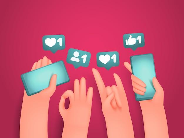 Мультяшный человеческие руки, держа телефоны и жесты Premium векторы