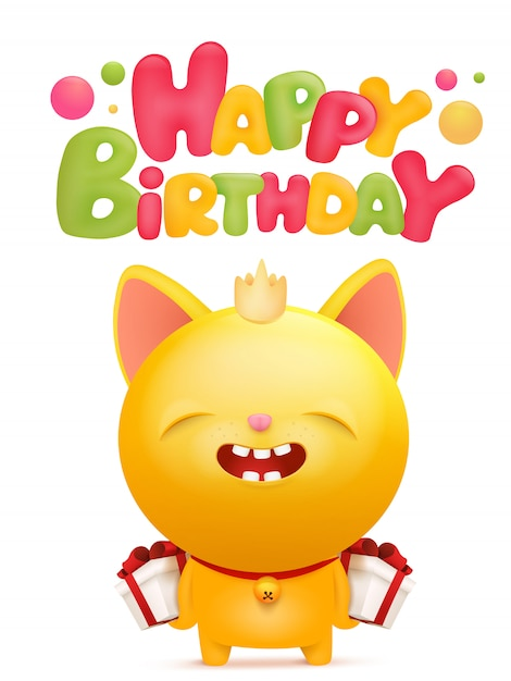 黄色の絵文字猫キャラクターの誕生日カード。 Premiumベクター