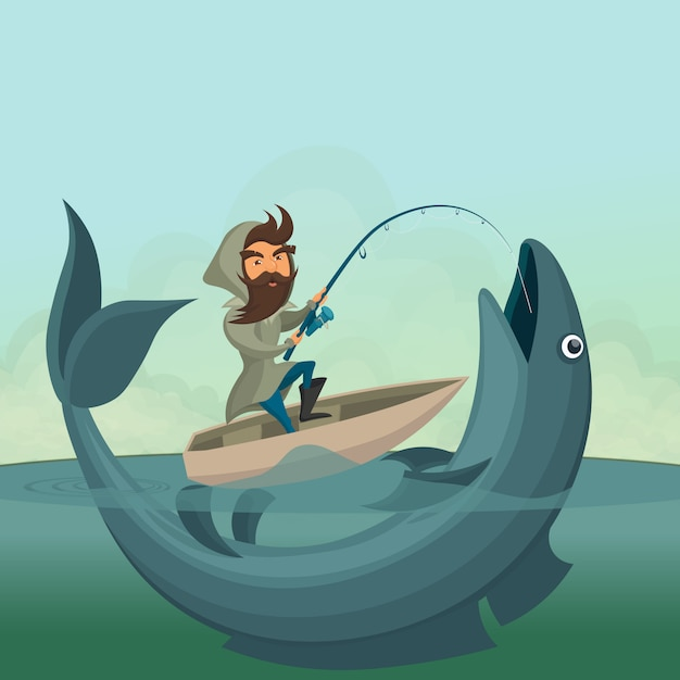 Рыбак на лодке поймать гигантскую рыбу Premium векторы