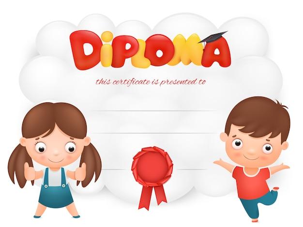 男の子と女の子の漫画のキャラクターと卒業証書カードテンプレート Premiumベクター