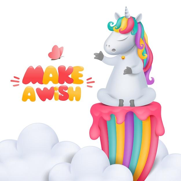 曇り空の虹にベルの立地とかわいい漫画ユニコーンキャラクター Premiumベクター