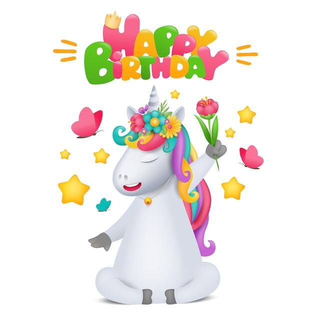 Симпатичные радуга мультфильма единорог персонаж с цветком в руке. шаблон поздравительной открытки. Premium векторы
