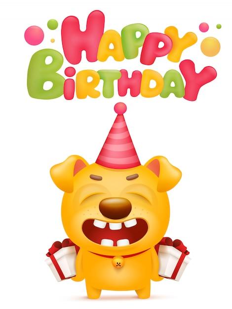 黄色の絵文字犬の漫画のキャラクターとの幸せな誕生日カード。 Premiumベクター