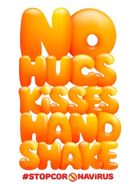 Предупреждение: не обнимает, целует дрожание рук. мультфильм желтые буквы. стоп коронавирус Premium векторы