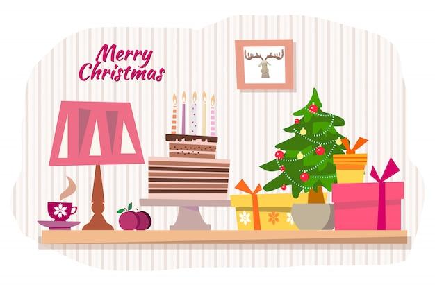С рождеством христовым иллюстрация Premium векторы