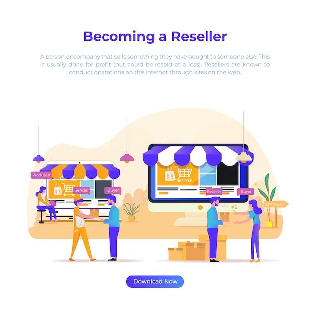 Плоская иллюстрация становится торговым посредником для электронной коммерции или интернет-магазина Premium векторы