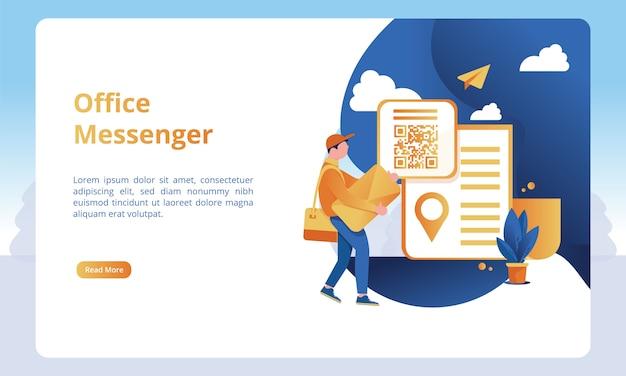 ビジネスランディングページテンプレートのオフィスメッセンジャーイラスト Premiumベクター