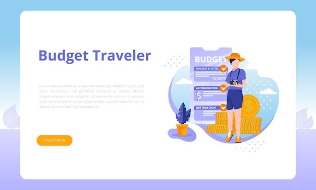 旅行ビジネスに関するランディングページテンプレートの予算旅行者 Premiumベクター