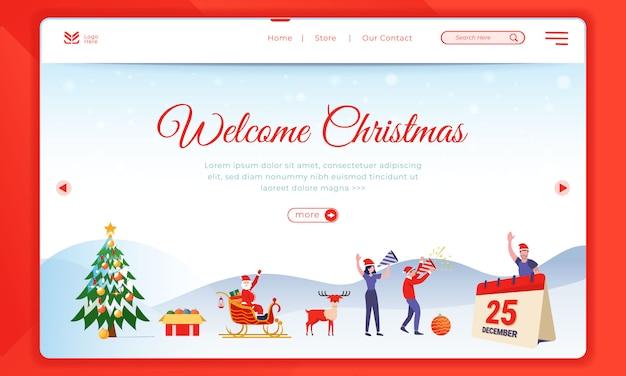 ランディングページテンプレートのクリスマスイラストを歓迎します。 Premiumベクター