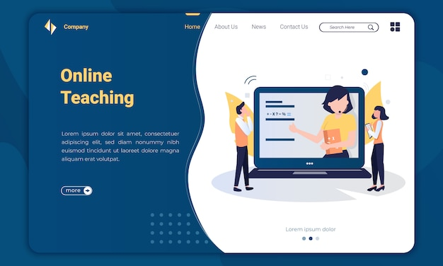 Плоский дизайн онлайн обучающий шаблон целевой страницы Premium векторы