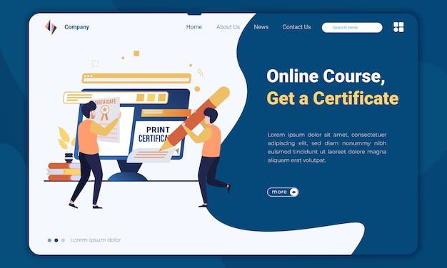 Плоский курс онлайн иллюстрации и получить шаблон целевой страницы сертификата Premium векторы