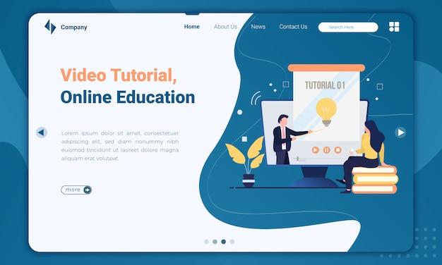 Плоская иллюстрация видео-учебника о шаблоне целевой страницы онлайн-образования Premium векторы