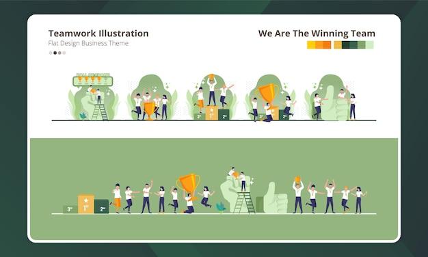 チームワークのイラスト集のフラットなデザイン、私たちは勝利チームです Premiumベクター