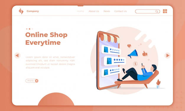 Плоская иллюстрация интернет-магазины каждый раз на целевой странице Premium векторы