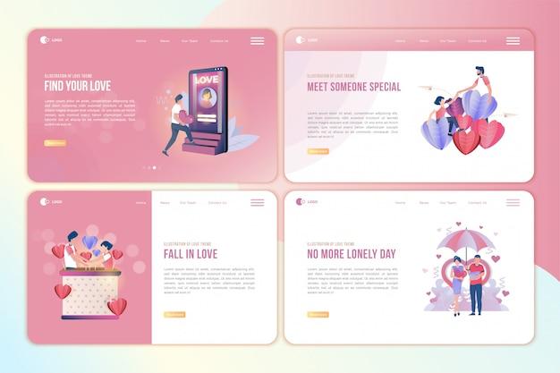 Набор целевой страницы с иллюстрациями людей, которые находят любовь Premium векторы