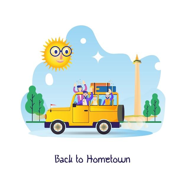 Плоский рисунок для путешественника, обратно в родной город - мудик в дневное время Premium векторы