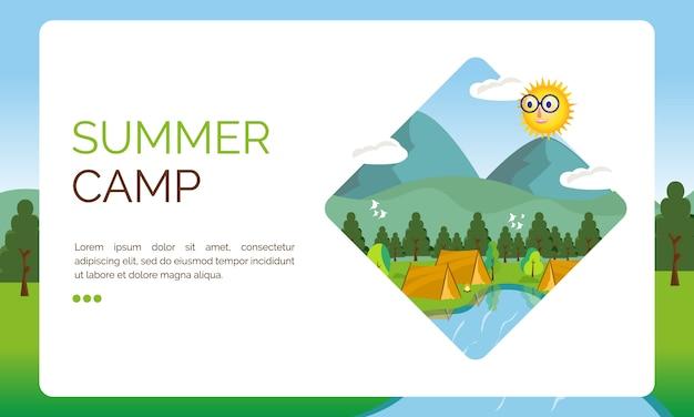Иллюстрация к посадочной странице, летний лагерь, фестиваль Premium векторы