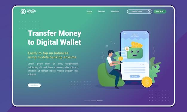Перевести деньги с помощью мобильного банкинга в приложение электронного кошелька по шаблону целевой страницы Premium векторы